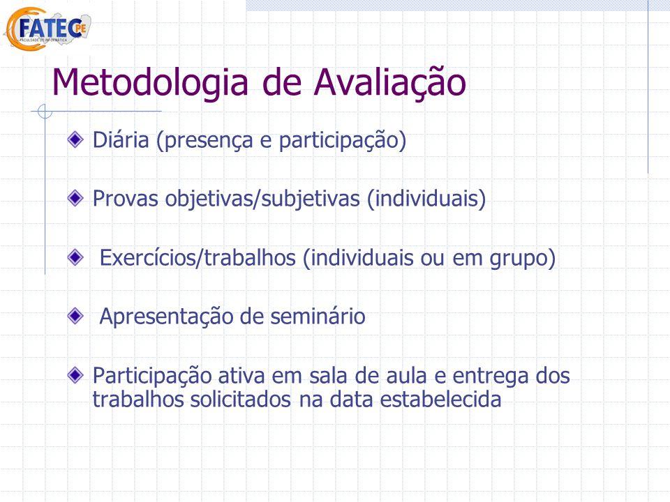 Metodologia de Avaliação Diária (presença e participação) Provas objetivas/subjetivas (individuais) Exercícios/trabalhos (individuais ou em grupo) Apr