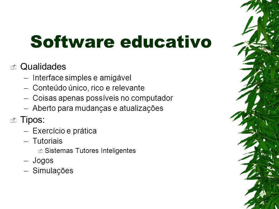 Software educativo  Qualidades –Interface simples e amigável –Conteúdo único, rico e relevante –Coisas apenas possíveis no computador –Aberto para mu