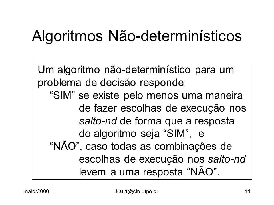maio/2000katia@cin.ufpe.br11 Algoritmos Não-determinísticos Um algoritmo não-determinístico para um problema de decisão responde SIM se existe pelo menos uma maneira de fazer escolhas de execução nos salto-nd de forma que a resposta do algoritmo seja SIM , e NÃO , caso todas as combinações de escolhas de execução nos salto-nd levem a uma resposta NÃO .