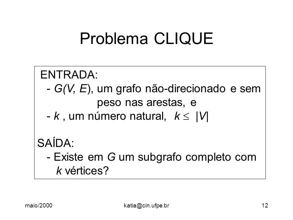 maio/2000katia@cin.ufpe.br12 Problema CLIQUE ENTRADA: - G(V, E), um grafo não-direcionado e sem peso nas arestas, e - k, um número natural, k  |V| SAÍDA: - Existe em G um subgrafo completo com k vértices