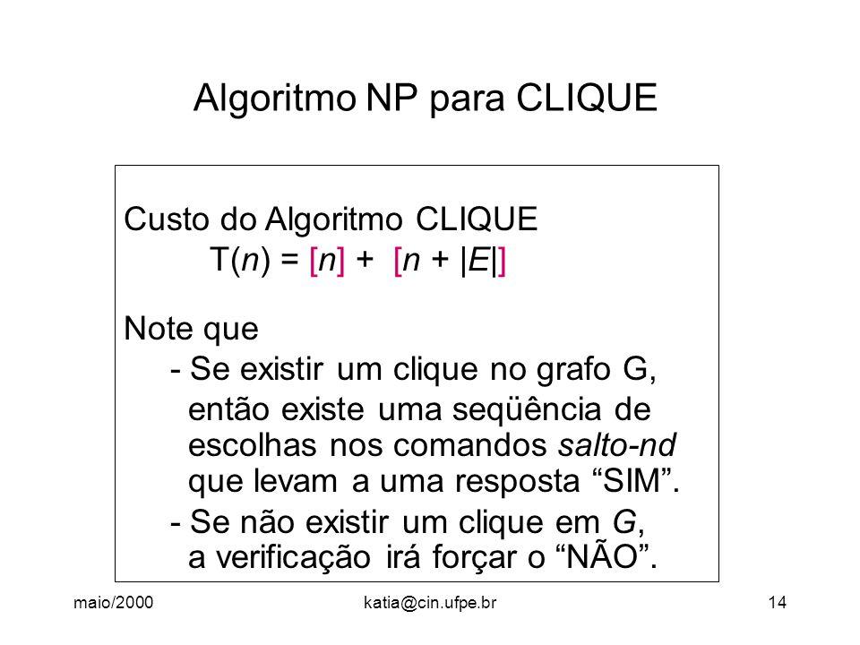 maio/2000katia@cin.ufpe.br14 Algoritmo NP para CLIQUE Custo do Algoritmo CLIQUE T(n) = [n] + [n + |E|] Note que - Se existir um clique no grafo G, então existe uma seqüência de escolhas nos comandos salto-nd que levam a uma resposta SIM .