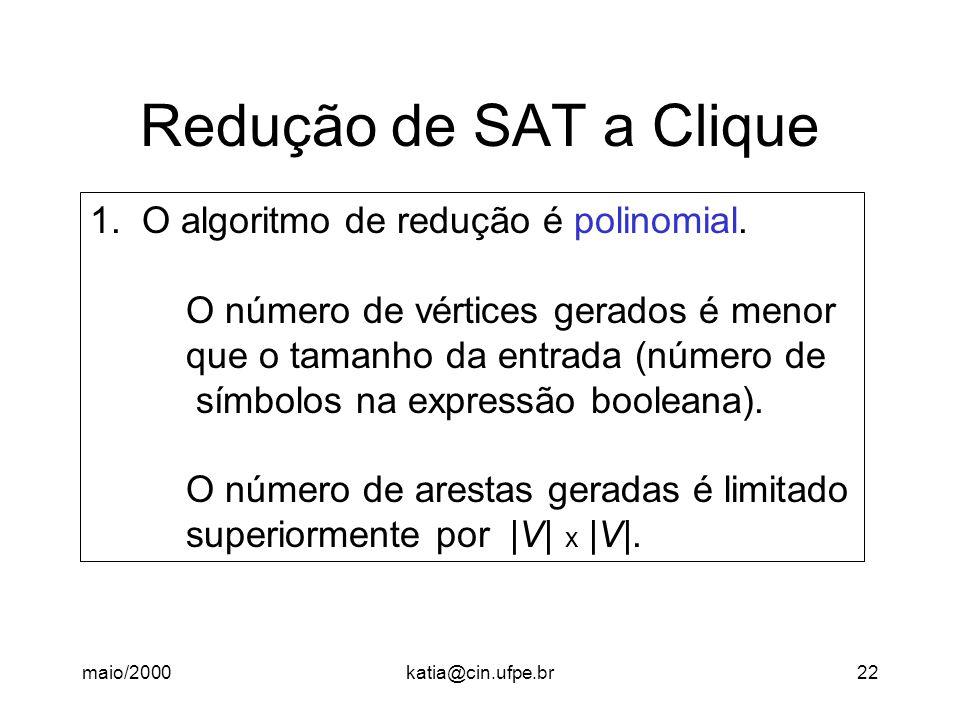maio/2000katia@cin.ufpe.br22 Redução de SAT a Clique 1.