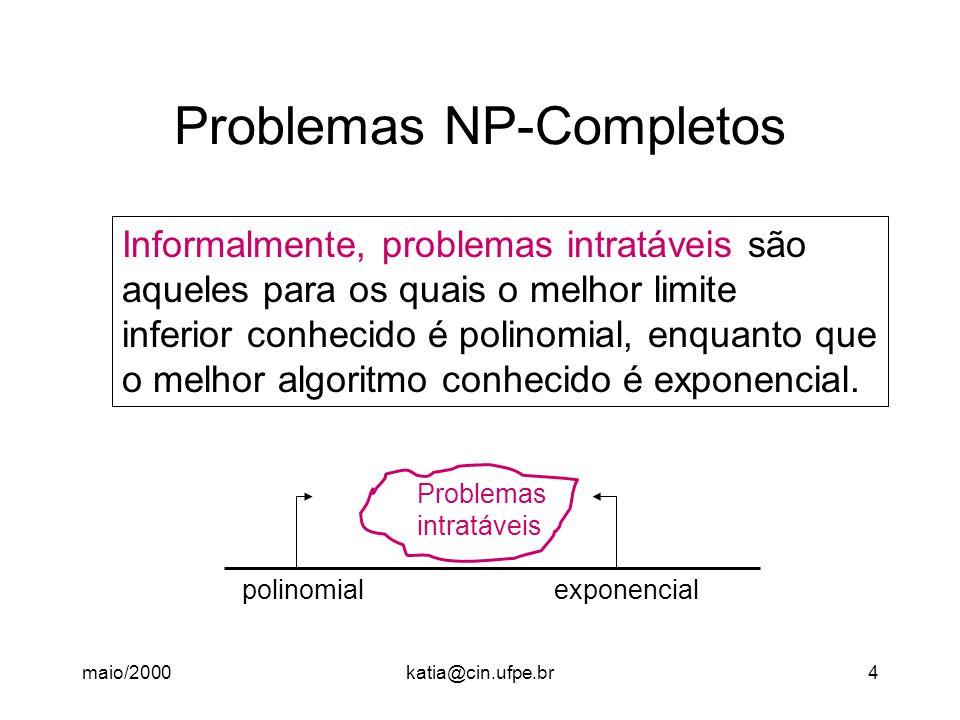 maio/2000katia@cin.ufpe.br25 A Classe NP-Completo Como dissemos inicialmente, NP-completo = NP  NP-difícil Algoritmo NPpolinomial SATSAT