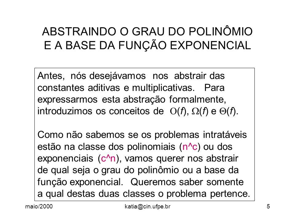 maio/2000katia@cin.ufpe.br16 Redução Polinomial A maneira de mostrar que a complexidade de SAT é um limite inferior para a com- plexidade de um problema P é fazer uma redução polinomial de SAT a este problema P, ou seja, definir uma solução para SAT usando uma solução para P como caixa preta .