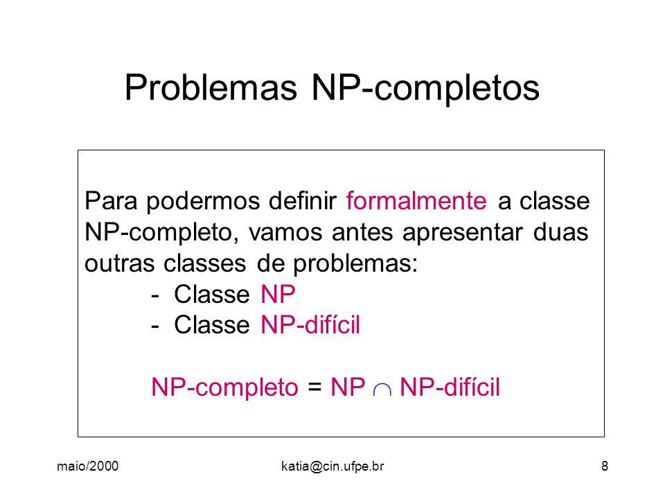 maio/2000katia@cin.ufpe.br9 Problemas NP NP é uma classe de problemas para os quais existe um algoritmo polinomial, embora não determinístico (daí o NP).