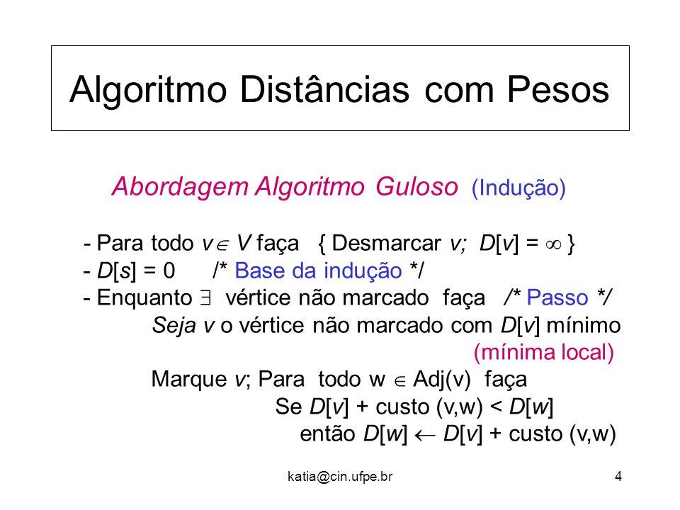 katia@cin.ufpe.br4 Algoritmo Distâncias com Pesos Abordagem Algoritmo Guloso (Indução) - Para todo v  V faça { Desmarcar v; D[v] =  } - D[s] = 0 /* Base da indução */ - Enquanto  vértice não marcado faça /* Passo */ Seja v o vértice não marcado com D[v] mínimo (mínima local) Marque v; Para todo w  Adj(v) faça Se D[v] + custo (v,w) < D[w] então D[w]  D[v] + custo (v,w)