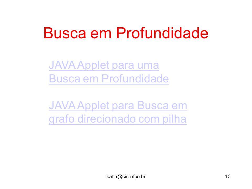 katia@cin.ufpe.br13 Busca em Profundidade JAVA Applet para uma Busca em Profundidade JAVA Applet para Busca em grafo direcionado com pilha