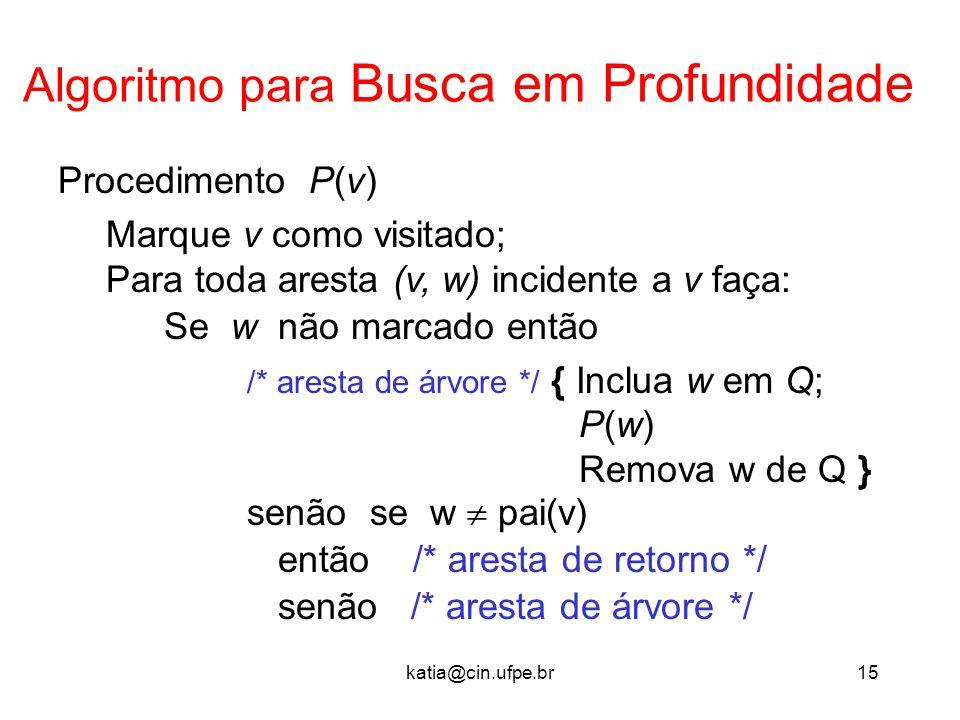 katia@cin.ufpe.br15 Algoritmo para Busca em Profundidade Procedimento P(v) Marque v como visitado; Para toda aresta (v, w) incidente a v faça: Se w nã