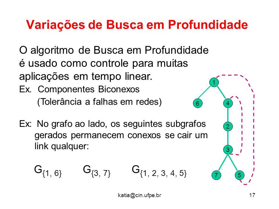 katia@cin.ufpe.br17 Variações de Busca em Profundidade O algoritmo de Busca em Profundidade é usado como controle para muitas aplicações em tempo line
