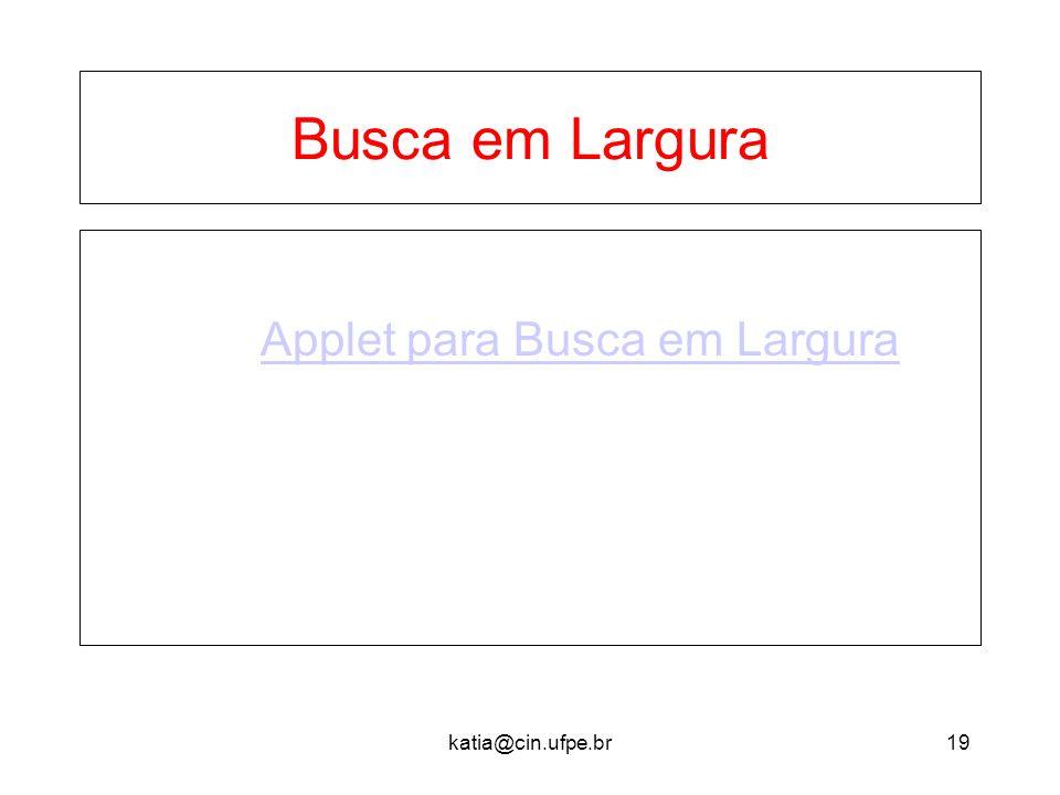 katia@cin.ufpe.br19 Busca em Largura Applet para Busca em Largura