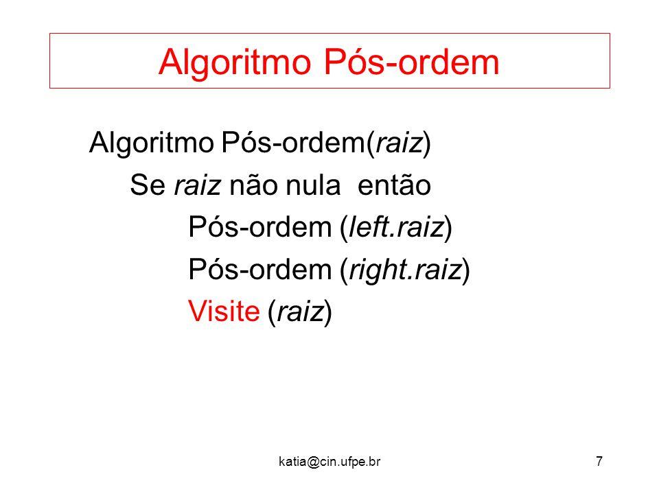 katia@cin.ufpe.br7 Algoritmo Pós-ordem Algoritmo Pós-ordem(raiz) Se raiz não nula então Pós-ordem (left.raiz) Pós-ordem (right.raiz) Visite (raiz)