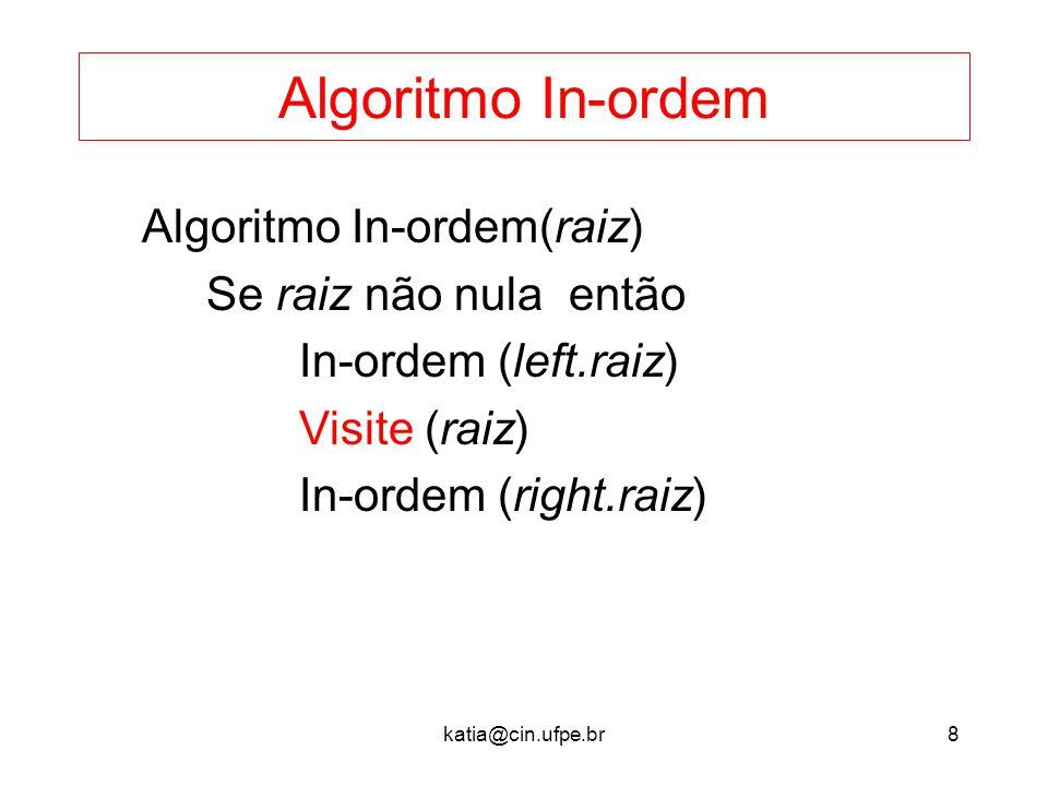 katia@cin.ufpe.br8 Algoritmo In-ordem Algoritmo In-ordem(raiz) Se raiz não nula então In-ordem (left.raiz) Visite (raiz) In-ordem (right.raiz)