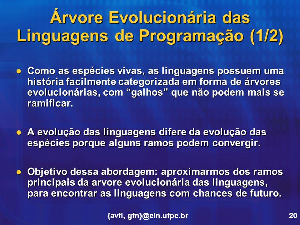 {avfl, gfn}@cin.ufpe.br20 Árvore Evolucionária das Linguagens de Programação (1/2) Como as espécies vivas, as linguagens possuem uma história facilmen