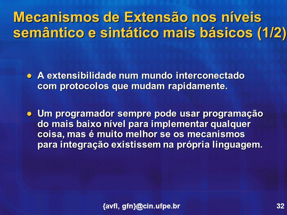 {avfl, gfn}@cin.ufpe.br32 Mecanismos de Extensão nos níveis semântico e sintático mais básicos (1/2) A extensibilidade num mundo interconectado com pr