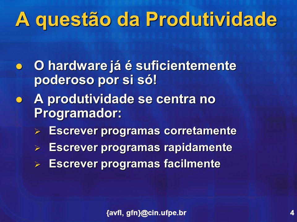 {avfl, gfn}@cin.ufpe.br4 A questão da Produtividade O hardware já é suficientemente poderoso por si só! O hardware já é suficientemente poderoso por s