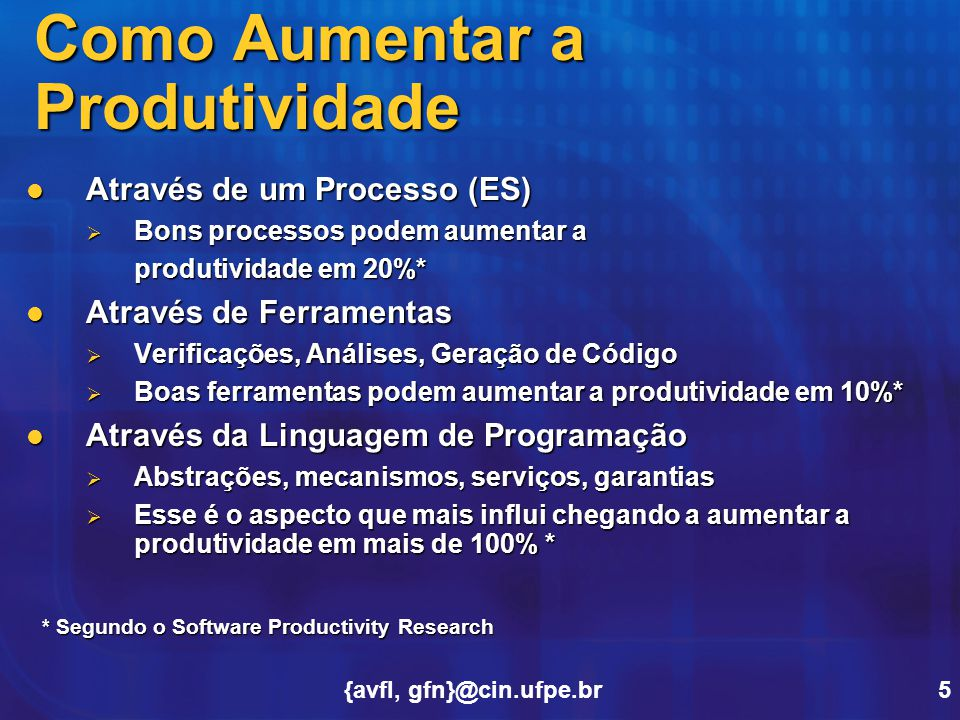 {avfl, gfn}@cin.ufpe.br5 Como Aumentar a Produtividade Através de um Processo (ES) Através de um Processo (ES)  Bons processos podem aumentar a produ