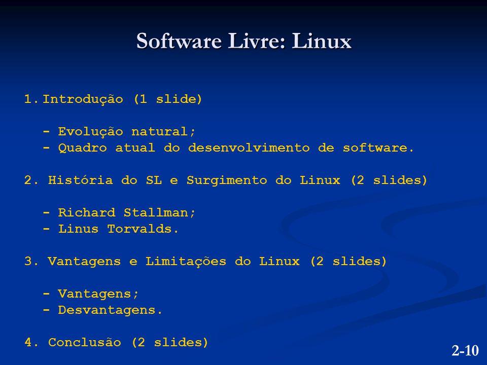 1.Introdução (1 slide) - Evolução natural; - Quadro atual do desenvolvimento de software. 2. História do SL e Surgimento do Linux (2 slides) - Richard