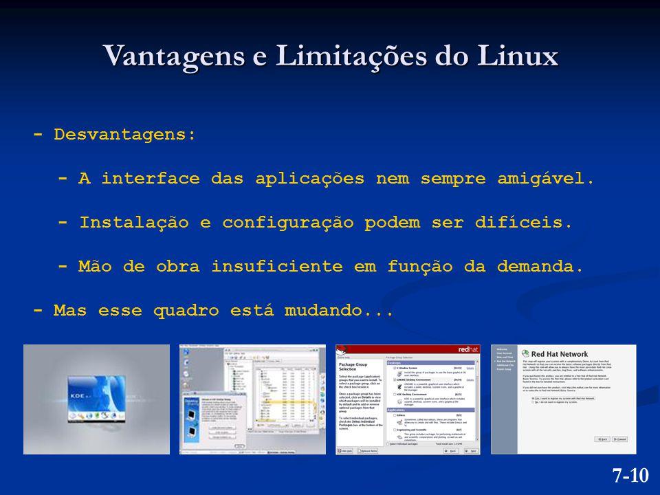 Vantagens e Limitações do Linux - Desvantagens: - A interface das aplicações nem sempre amigável. - Instalação e configuração podem ser difíceis. - Mã