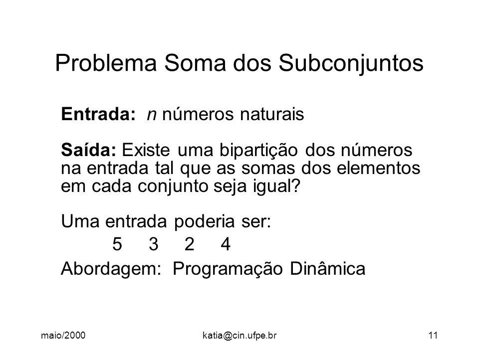 maio/2000katia@cin.ufpe.br11 Problema Soma dos Subconjuntos Entrada: n números naturais Saída: Existe uma bipartição dos números na entrada tal que as somas dos elementos em cada conjunto seja igual.
