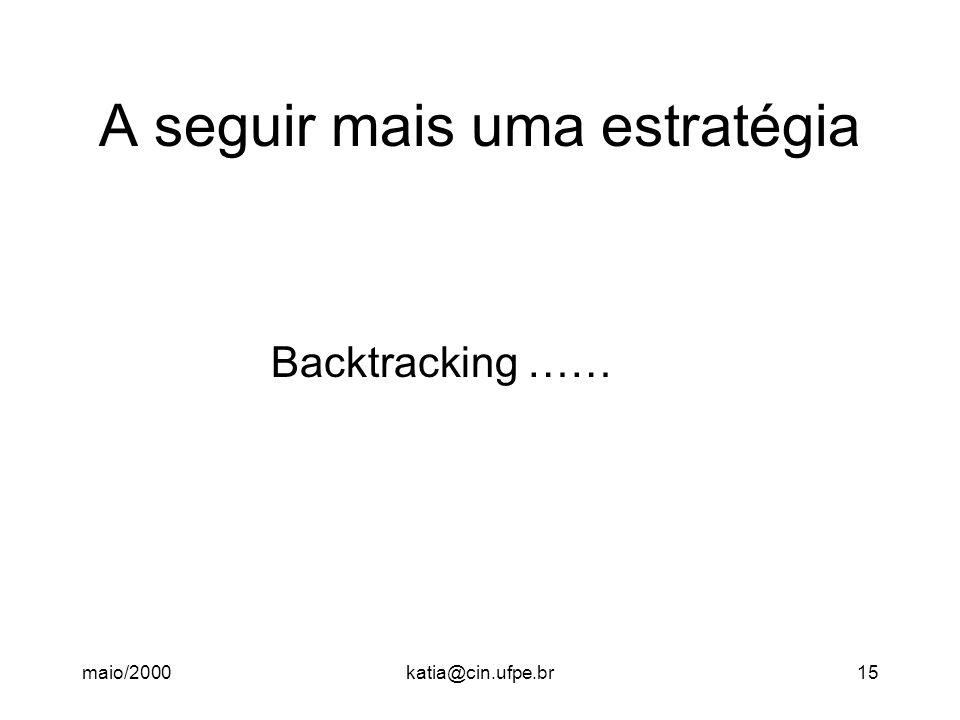 maio/2000katia@cin.ufpe.br15 A seguir mais uma estratégia Backtracking ……