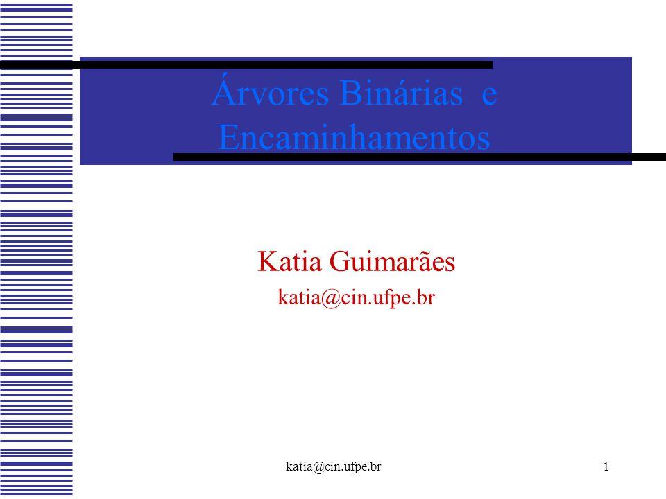 katia@cin.ufpe.br1 Árvores Binárias e Encaminhamentos Katia Guimarães katia@cin.ufpe.br