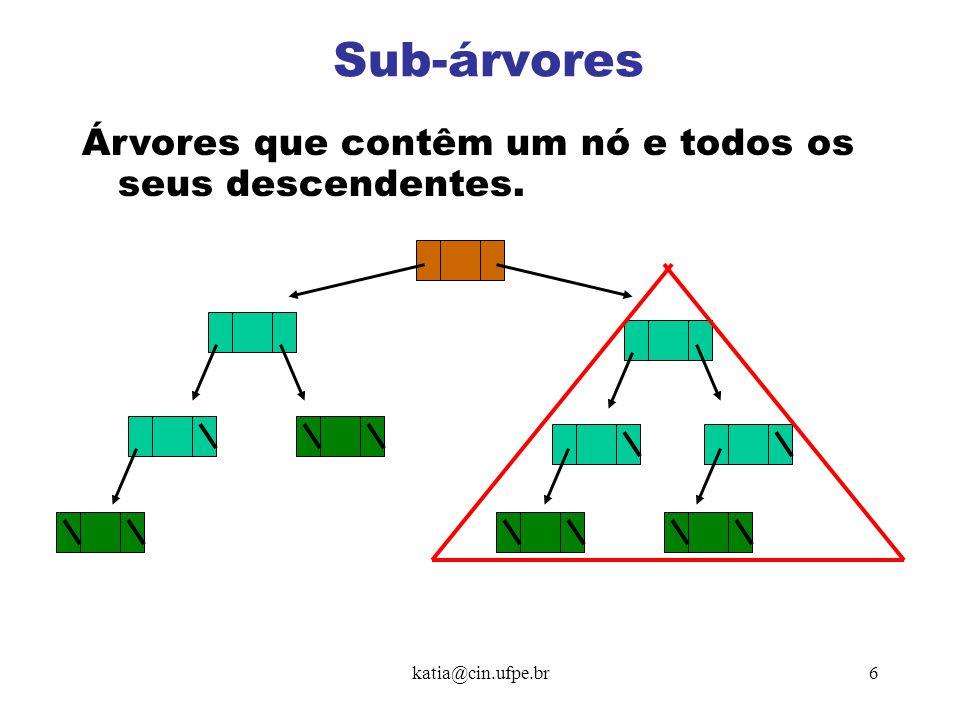katia@cin.ufpe.br7 Encaminhamentos sistemáticos em árvore baseiam-se na ordem em que a raiz é visitada com relação a seus descendentes.