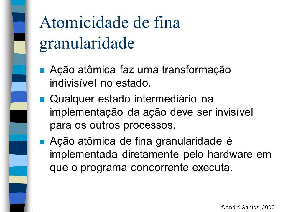 ©André Santos, 2000 Atomicidade de fina granularidade n Ação atômica faz uma transformação indivisível no estado.