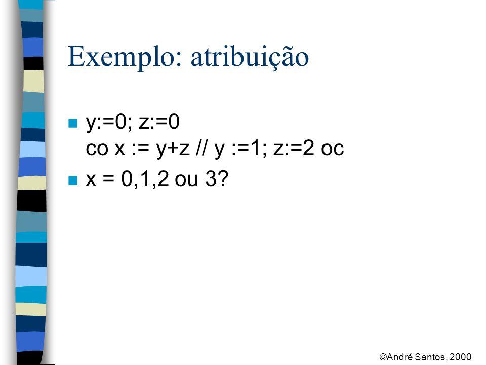 ©André Santos, 2000 Exemplo: atribuição n y:=0; z:=0 co x := y+z // y :=1; z:=2 oc n x = 0,1,2 ou 3