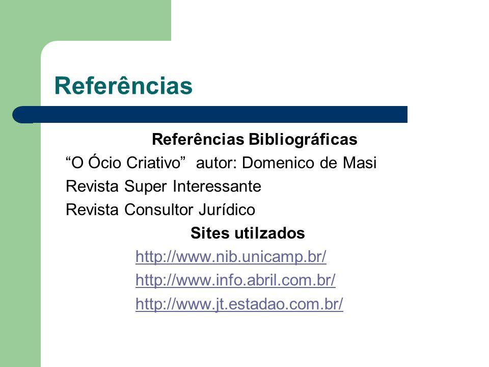 Referências Referências Bibliográficas O Ócio Criativo autor: Domenico de Masi Revista Super Interessante Revista Consultor Jurídico Sites utilzados http://www.nib.unicamp.br/ http://www.info.abril.com.br/ http://www.jt.estadao.com.br/