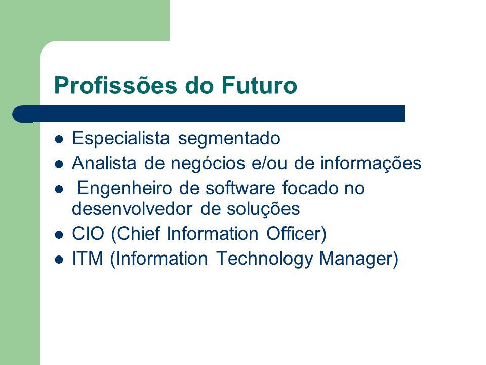 Profissões do Futuro Especialista segmentado Analista de negócios e/ou de informações Engenheiro de software focado no desenvolvedor de soluções CIO (