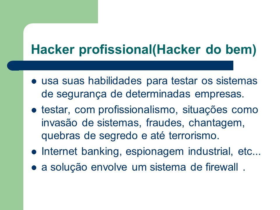 Hacker profissional(Hacker do bem) usa suas habilidades para testar os sistemas de segurança de determinadas empresas. testar, com profissionalismo, s
