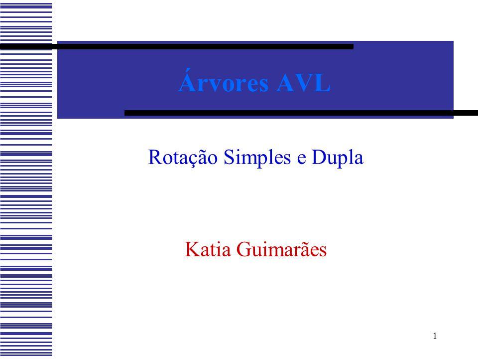 1 Árvores AVL Rotação Simples e Dupla Katia Guimarães