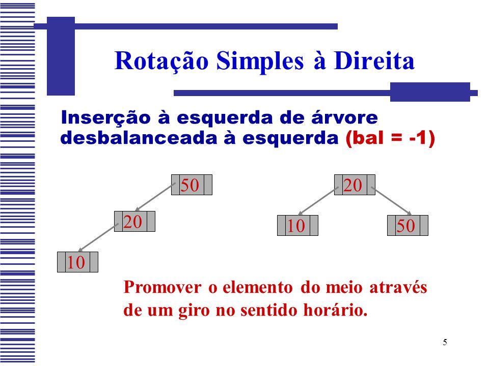 5 Rotação Simples à Direita Inserção à esquerda de árvore desbalanceada à esquerda (bal = -1) Promover o elemento do meio através de um giro no sentid