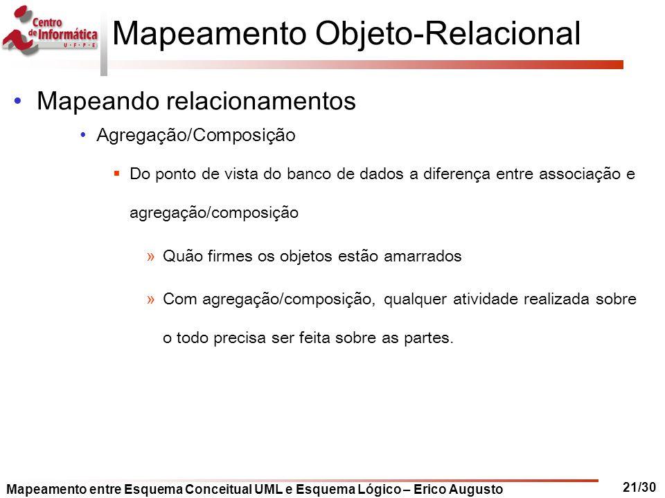 Mapeamento entre Esquema Conceitual UML e Esquema Lógico – Erico Augusto 21/30 Mapeamento Objeto-Relacional Mapeando relacionamentos Agregação/Composi