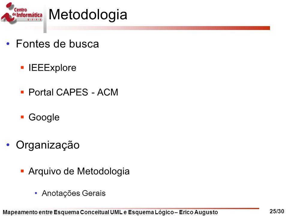 Mapeamento entre Esquema Conceitual UML e Esquema Lógico – Erico Augusto 25/30 Metodologia Fontes de busca  IEEExplore  Portal CAPES - ACM  Google