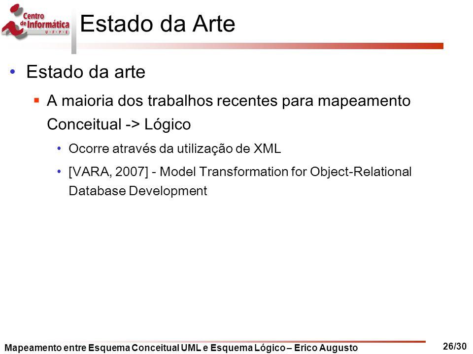 Mapeamento entre Esquema Conceitual UML e Esquema Lógico – Erico Augusto 26/30 Estado da Arte Estado da arte  A maioria dos trabalhos recentes para m