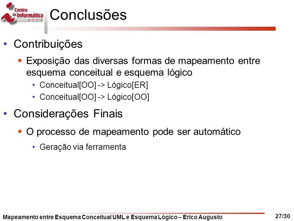 Mapeamento entre Esquema Conceitual UML e Esquema Lógico – Erico Augusto 27/30 Conclusões Contribuições  Exposição das diversas formas de mapeamento