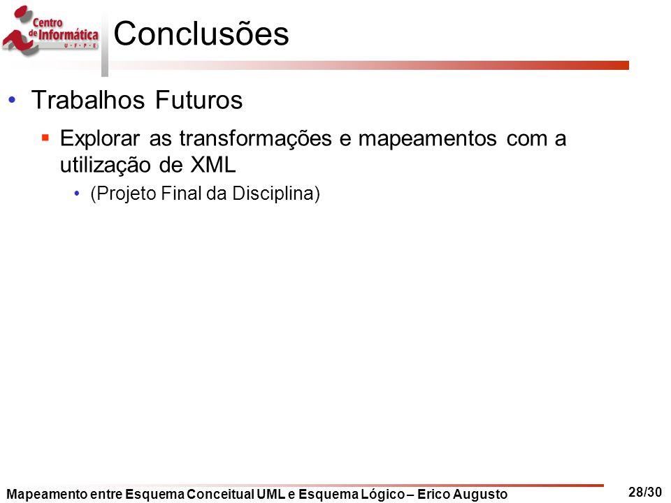 Mapeamento entre Esquema Conceitual UML e Esquema Lógico – Erico Augusto 28/30 Conclusões Trabalhos Futuros  Explorar as transformações e mapeamentos