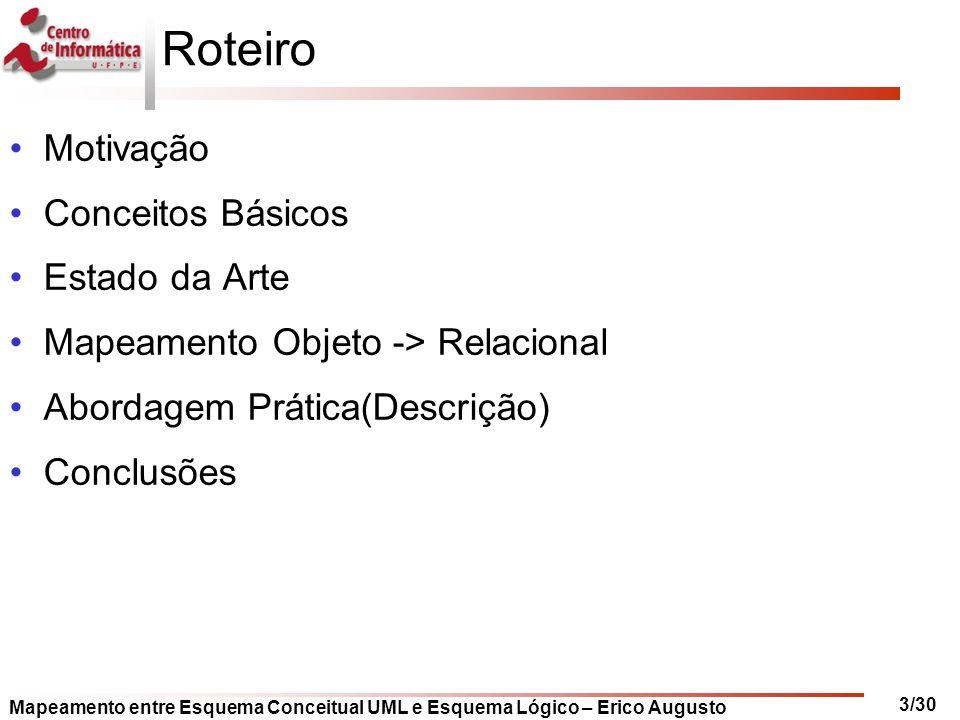 Mapeamento entre Esquema Conceitual UML e Esquema Lógico – Erico Augusto 3/30 Roteiro Motivação Conceitos Básicos Estado da Arte Mapeamento Objeto ->