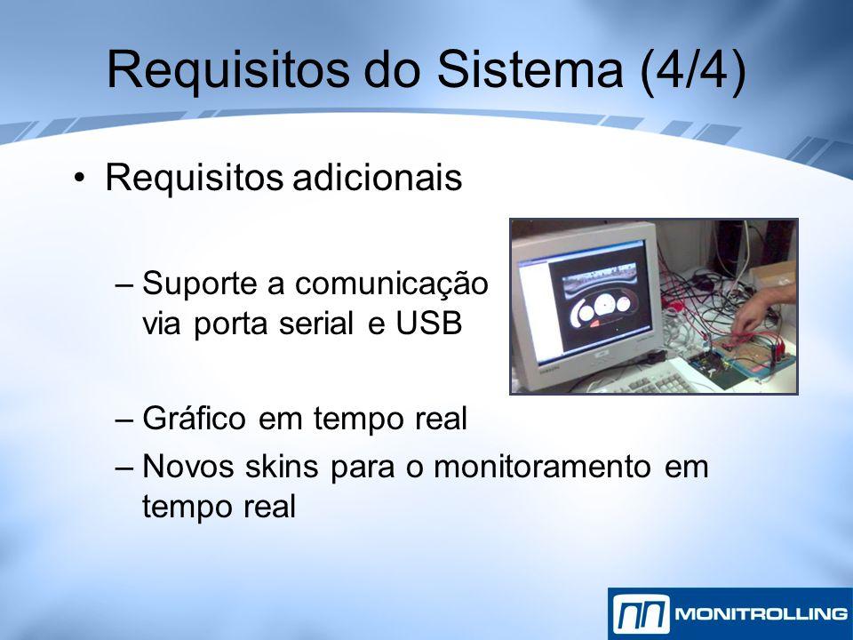 Requisitos do Sistema (4/4) Requisitos adicionais –Suporte a comunicação via porta serial e USB –Gráfico em tempo real –Novos skins para o monitoramen