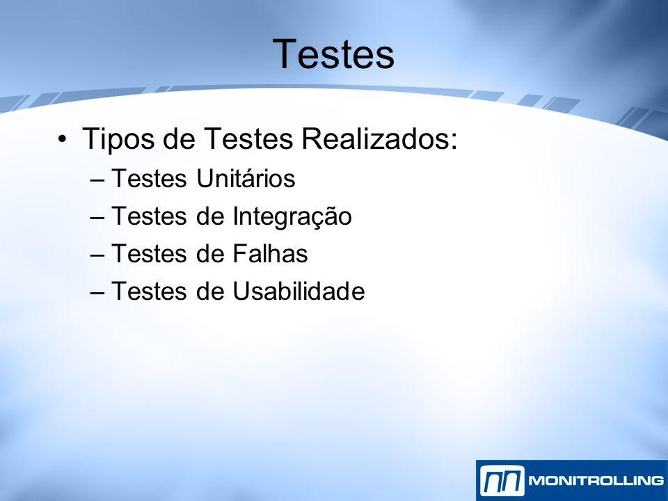 Tipos de Testes Realizados: –Testes Unitários –Testes de Integração –Testes de Falhas –Testes de Usabilidade