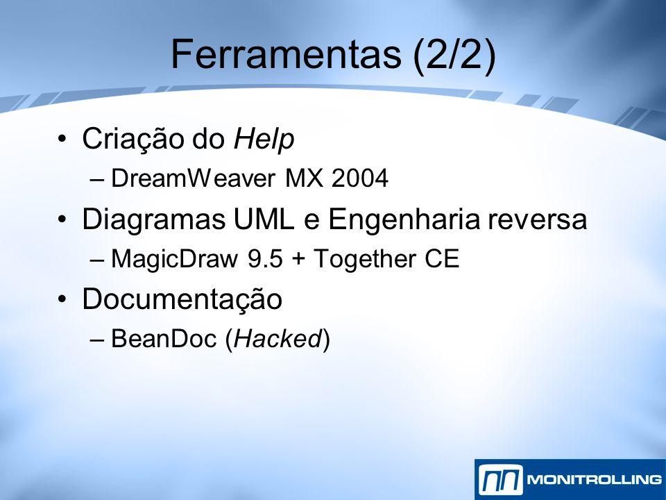 Ferramentas (2/2) Criação do Help –DreamWeaver MX 2004 Diagramas UML e Engenharia reversa –MagicDraw 9.5 + Together CE Documentação –BeanDoc (Hacked)