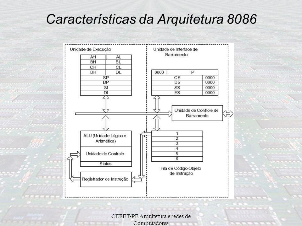 CEFET-PE Arquitetura e redes de Computadores Arquitetura 8086 –arquitetura de 16 bits comunicação com a memória em 16 bits (8086) capacidade máxima de