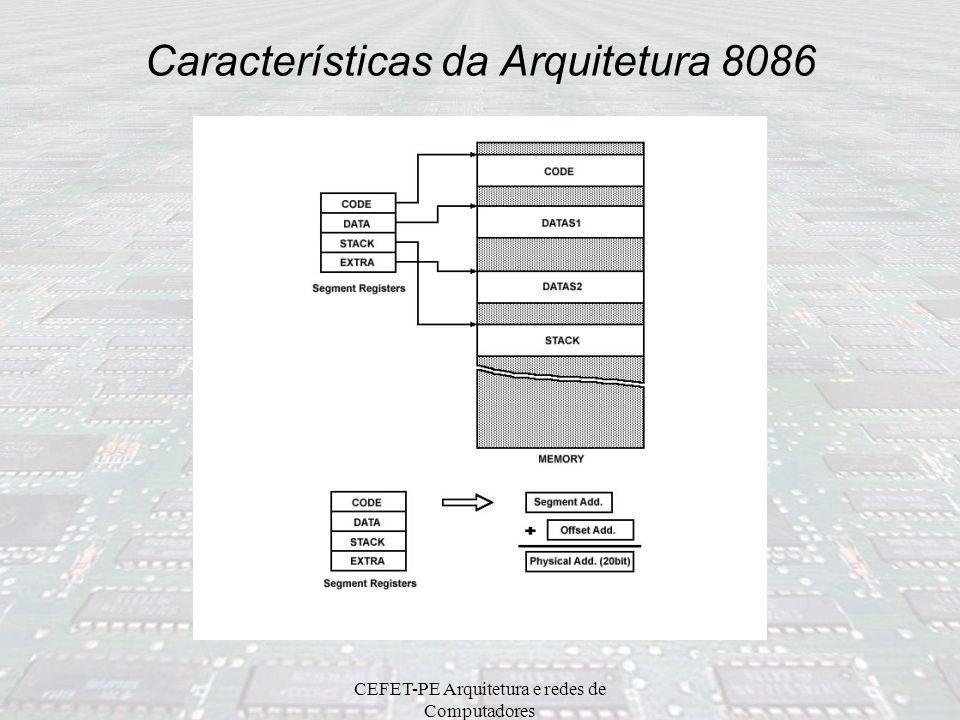 CEFET-PE Arquitetura e redes de Computadores Registradores de Segmento 8086 São registradores de endereços; Armazena endereços de programa e dados; Or
