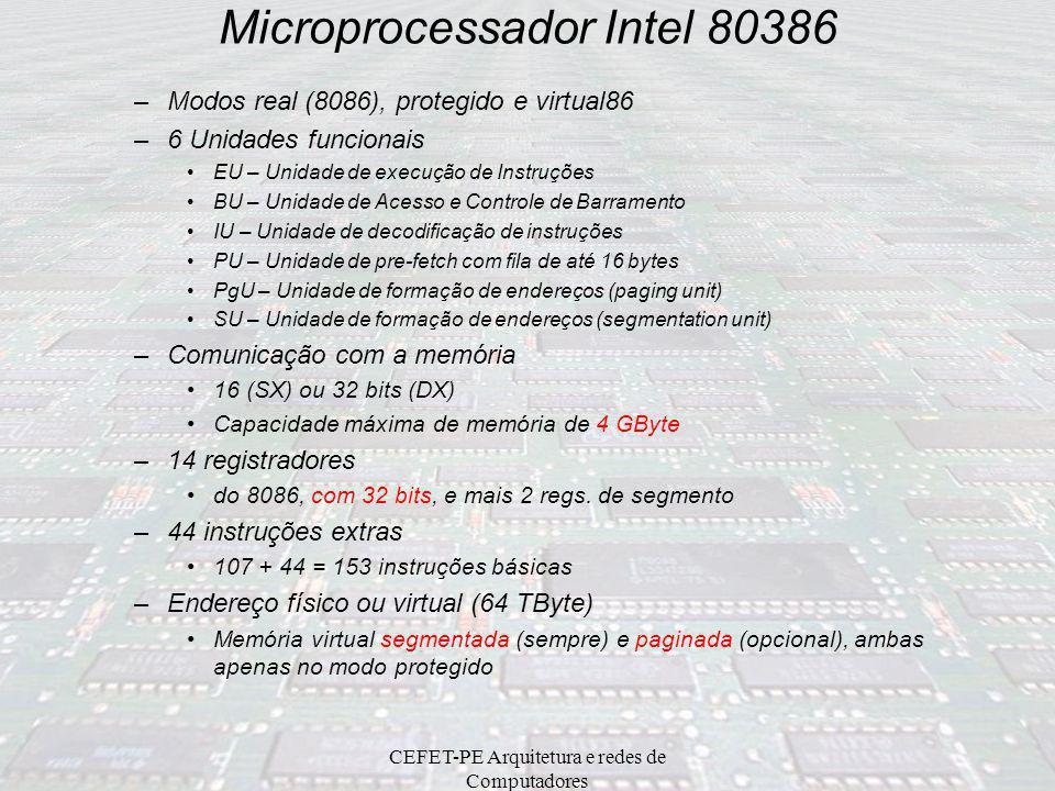 CEFET-PE Arquitetura e redes de Computadores Microprocessador Intel 80286 –Praticamente a mesma arquitetura do 8086 –Data bus 16 bits (D0 – D15), Addr