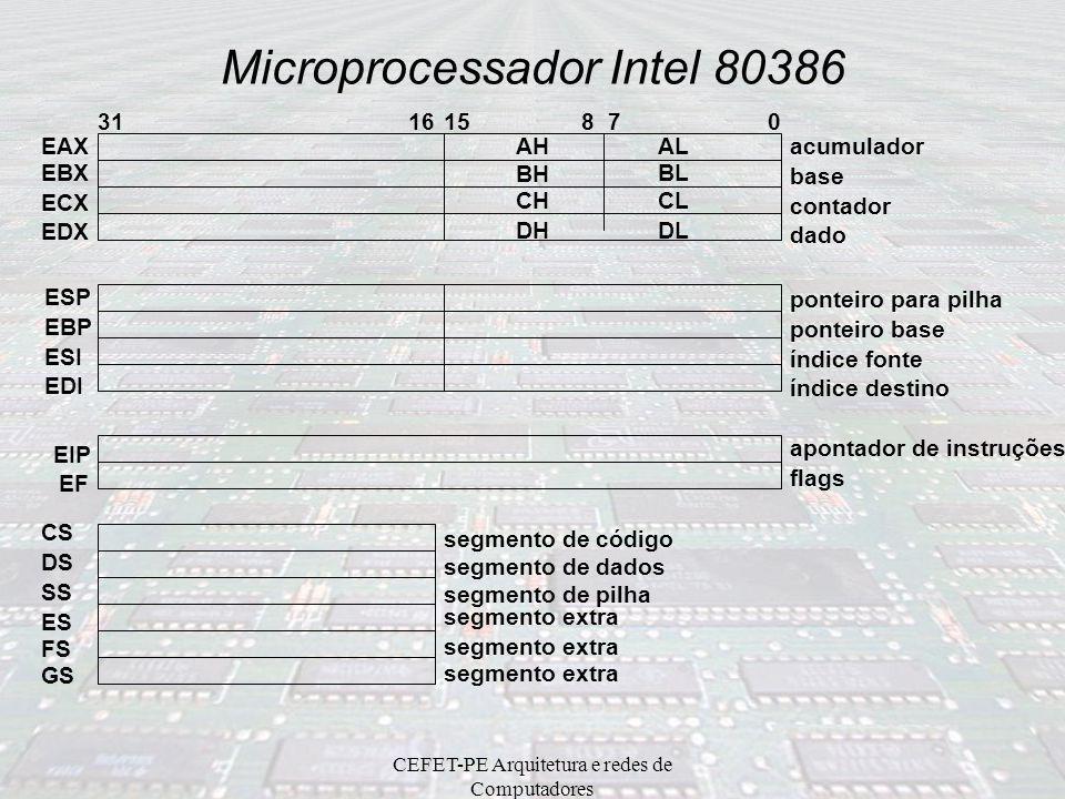 CEFET-PE Arquitetura e redes de Computadores Microprocessador Intel 80386 –Modos real (8086), protegido e virtual86 –6 Unidades funcionais EU – Unidad