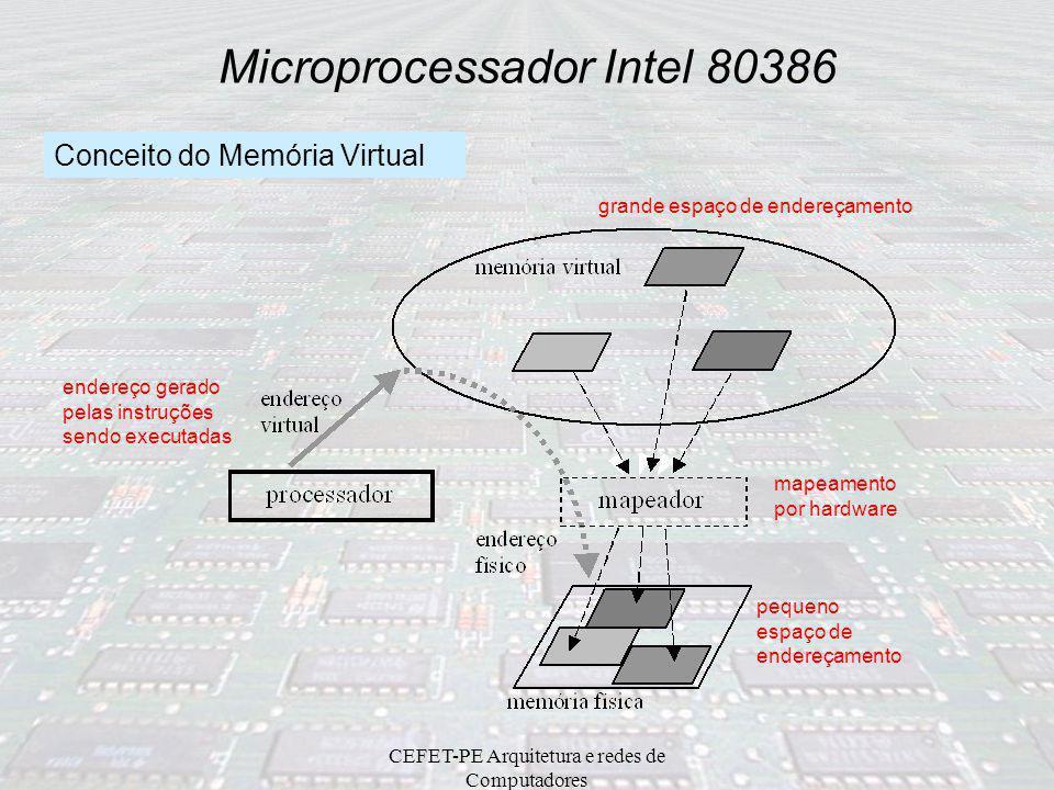 CEFET-PE Arquitetura e redes de Computadores Microprocessador Intel 80386 15870 EAXAHAL EBX BH BL ECX CHCL EDX DHDL ESP EBP ESI EDI EIP EF CS DS SS ES