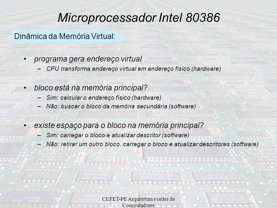 CEFET-PE Arquitetura e redes de Computadores Microprocessador Intel 80386 Questões da Memória Virtual: quando mover um bloco da memória secundária par