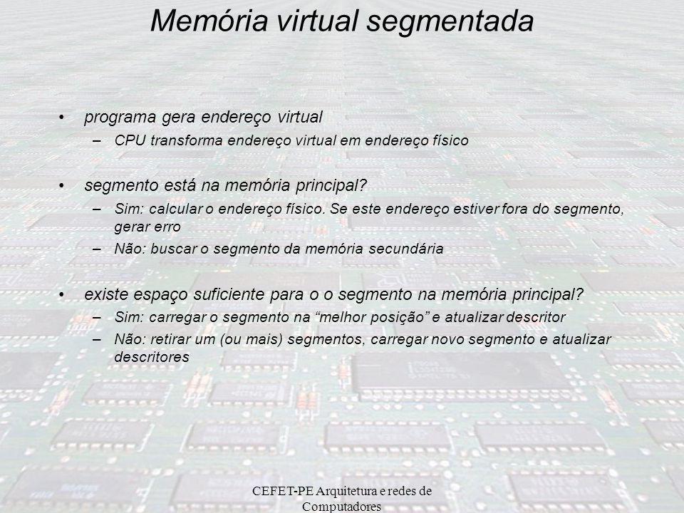 CEFET-PE Arquitetura e redes de Computadores Microprocessador Intel 80386 Memória Virtual Segmentada: (Segmentação => Converte endereços lógicos em en