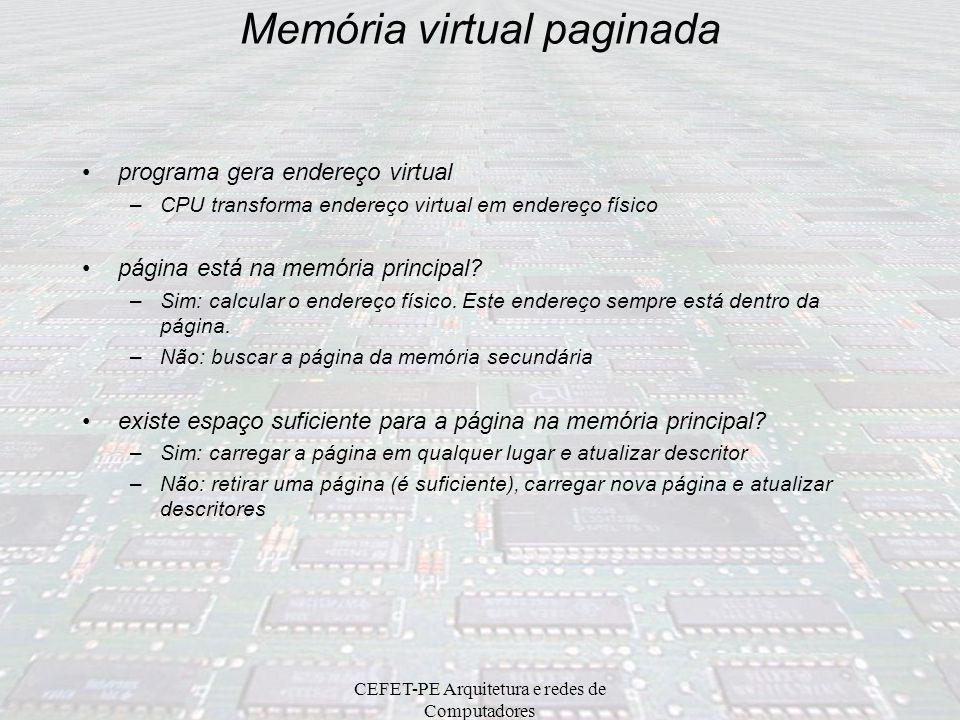 CEFET-PE Arquitetura e redes de Computadores Memória virtual paginada... (Paginação => Converte endereços lineares em endereços físicos) Tabelas (1024